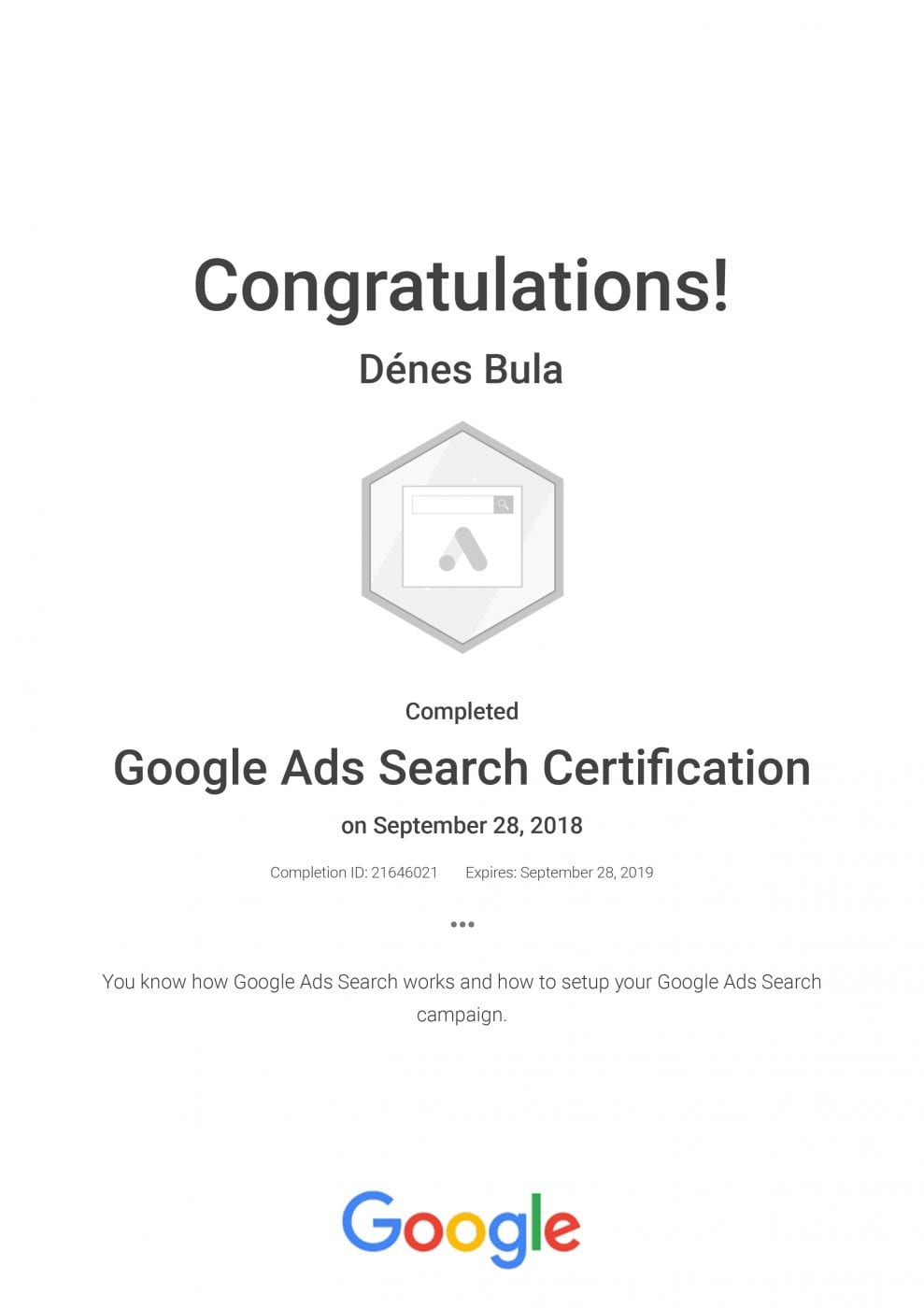 Google Ads Search Certification_ Google_kep