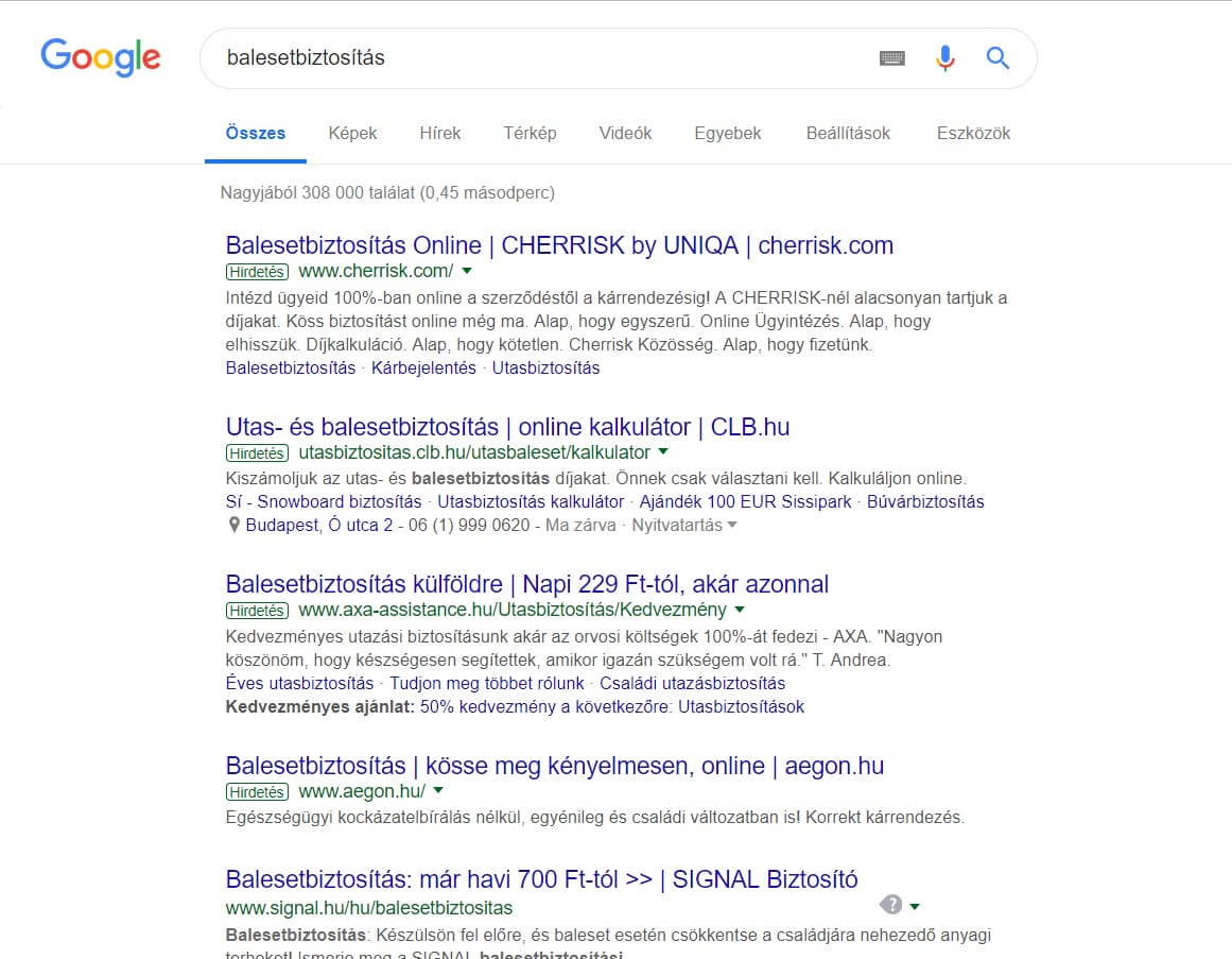 google ads hirdetes biztositas arak
